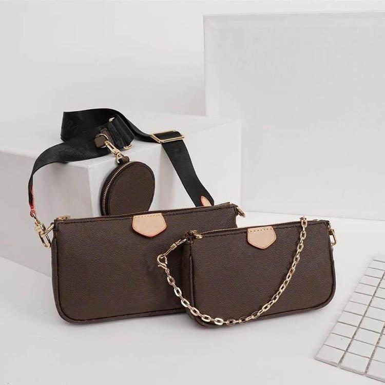 Diseñador de lujo del monedero de cuero auténtico L Marca Flor de hombro bolso crossbody de las señoras de los monederos de las PC 3 de la tarde bolsa