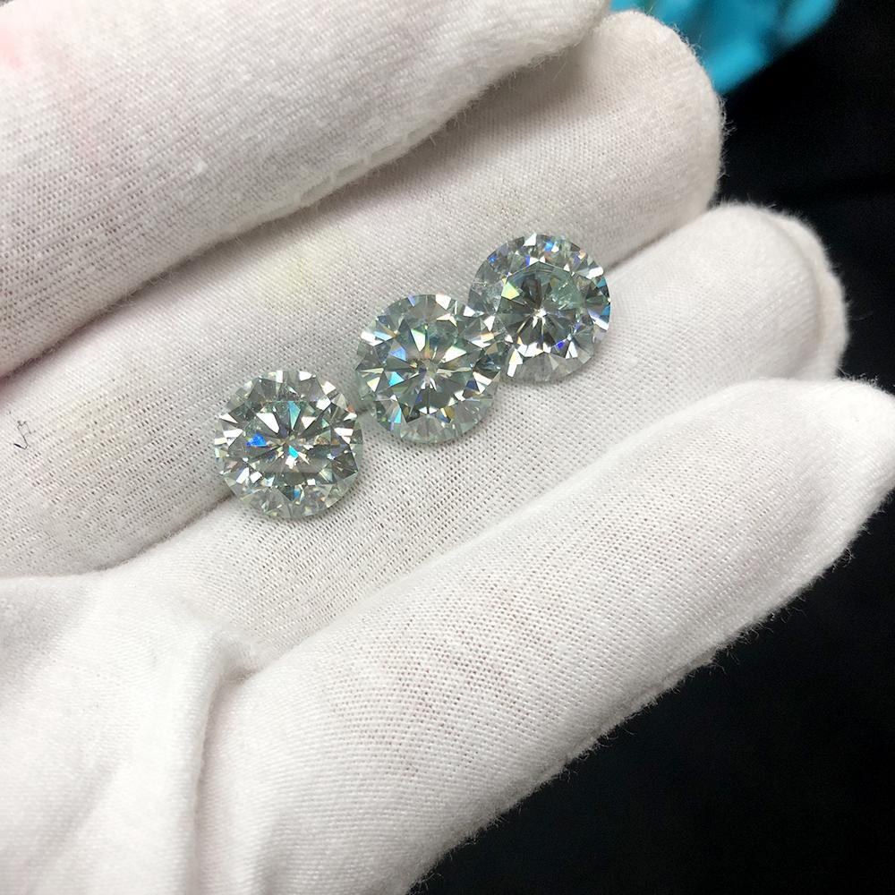 Rotonda taglio brillante Moissanite 5 carati 11 millimetri Lieve test Blu Positivo Lab Grown diamante sciolto gemme Pietre taglio eccellente VVS1
