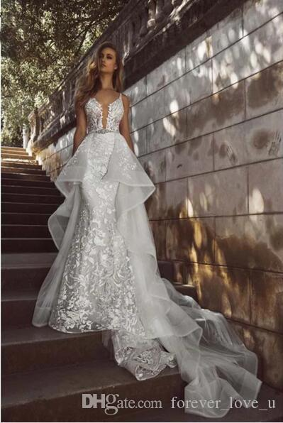 Guangdong Modren Hohe Qualität Weiß Deep V-ausschnitt Abnehmbare Zug Hochzeitskleid Union Fashion Sexy Vestido de Novia Hochzeitskleid Kleid Braut