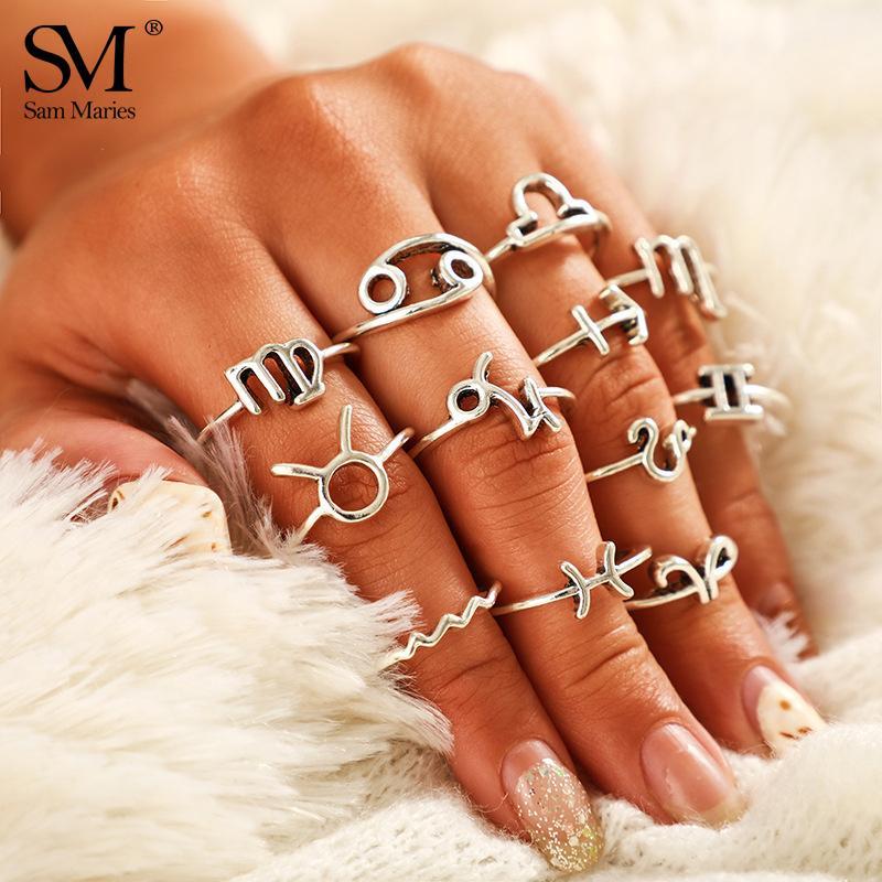 12 PC Weinlese-Konstellation Ringe Set Metall Sternzeichen-Finger-Ring-Silber-Farben Boho Knuckle Statement Frauen Schmuck
