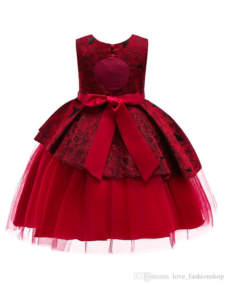 1pcs Baby Girls Backless Princess Prom Klänningar Ärmlös Lace Flower Broderade Patchwork Formell Klänningar Party Dress Kids Designer Kläder