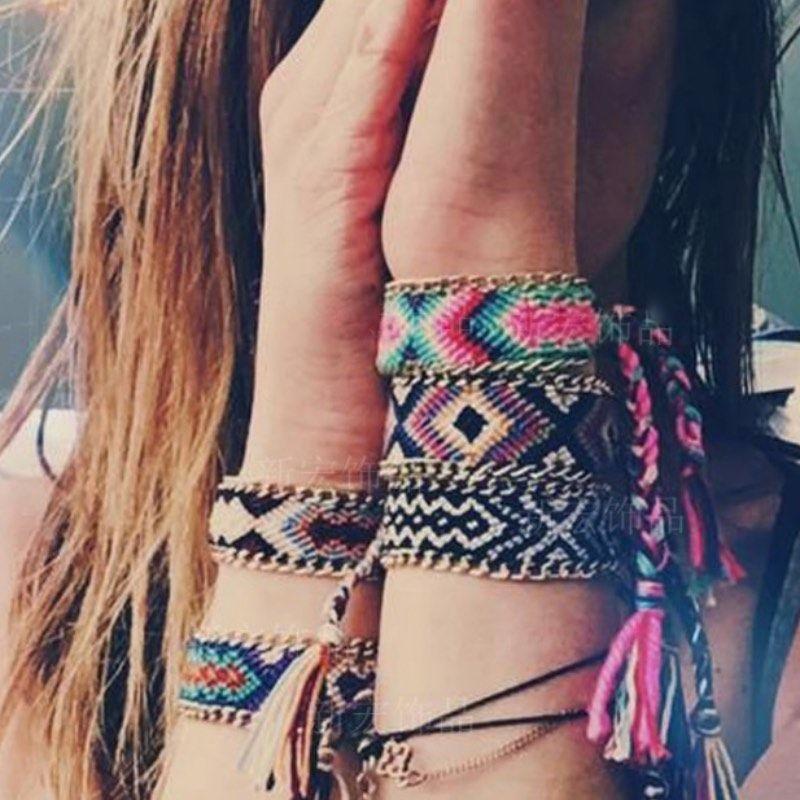 12 Farben Geflochtene Charme Armband Sommer Handgemachte Webart Regenbogen Armbänder Infinity Lucky Freundschaft Handband mit Metallseite