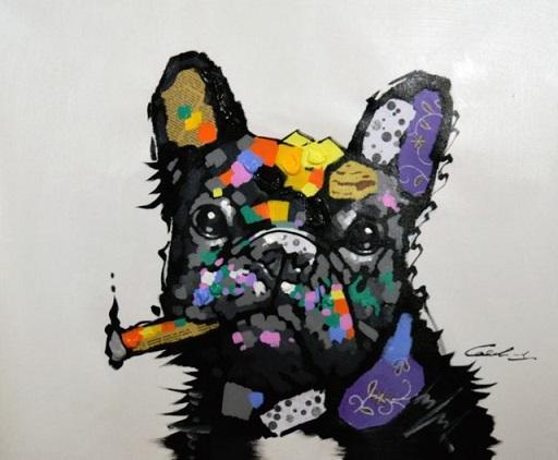 TOP BULLDOG PUG ANIMAL CONTEMPORAIN peint à la main abstraite moderne mur art animal Peinture à l'huile sur toile de multi Cadre d'options R380 de #