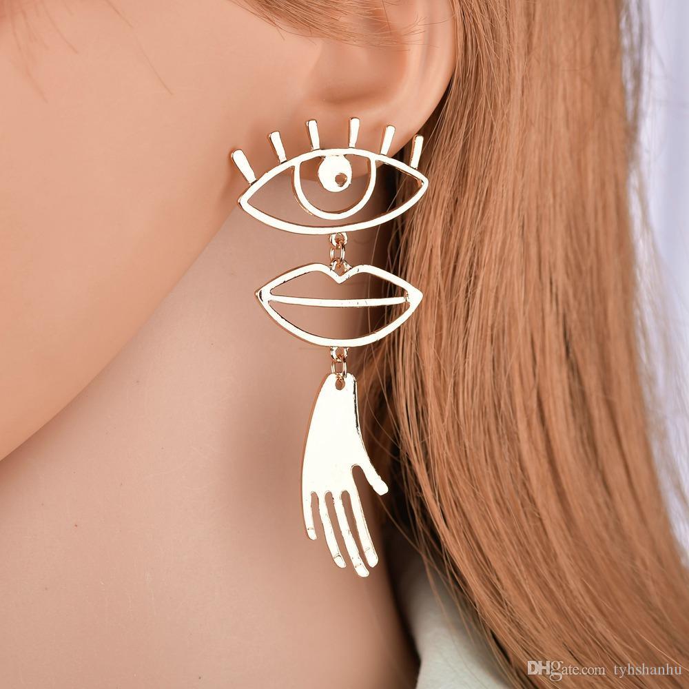 Gold Color Chic Palm Statement Stup Earrings Hyperbole Big Eyes Tassel Earring For Women Bijoux 2019 ZA Earrings E2528