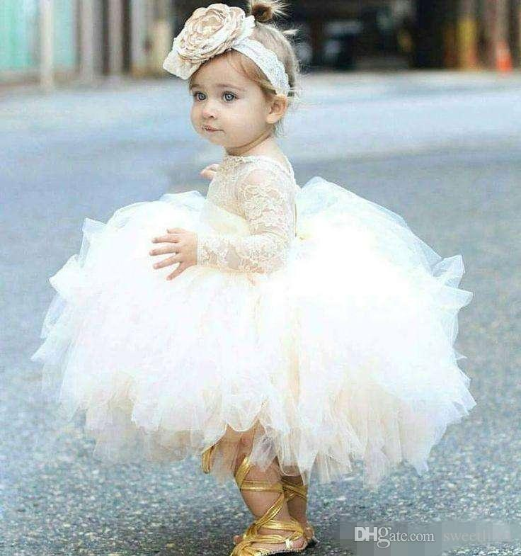 Vintage Lovely Ivory Baby Infant Toddler Baptism Clothes Flower Girl Dresses With Long Sleeves Lace Tutu Ball Gowns Cheap