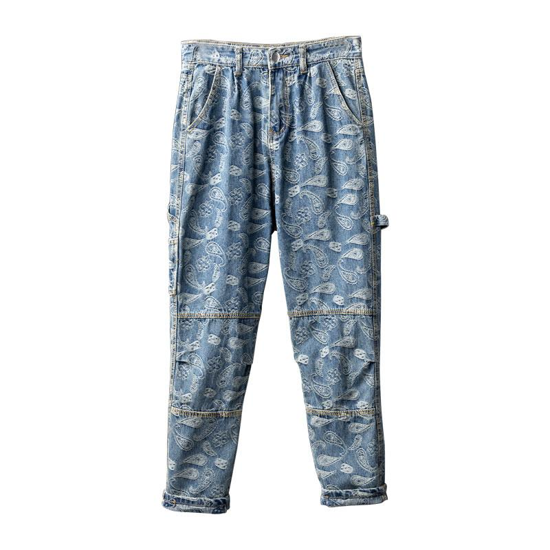 Mcikkny hombres Hip Hop impresos pantalones vaqueros flojos ocasionales Moda Parejas Denim Pantalones Pantalones Streetwear