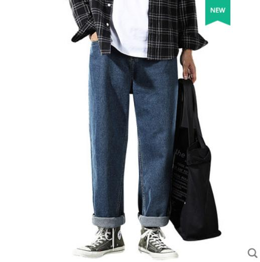 Синий Популярные Логотип Сыпучие джинсы Мужские брюки