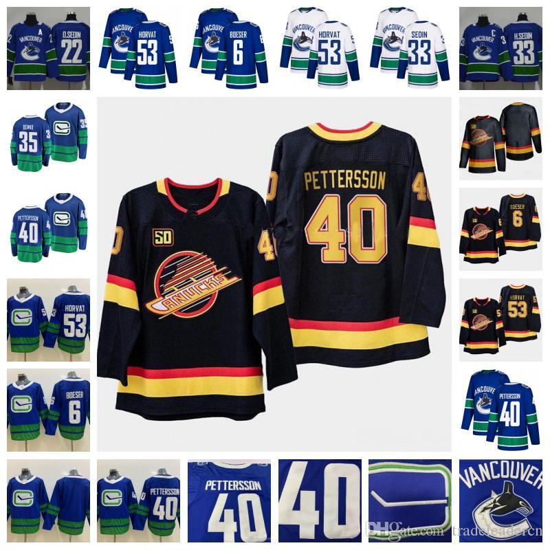 50th 밴쿠버 Canucks 40 Elias Pettersson Brock Boeser Daniel Henrik Sedin Thatcher Demko Bo Horvat Blue White Black Third Hockey Jerseys