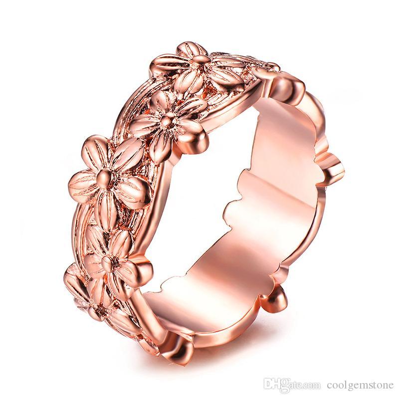 LuckyShine New Hot vendre fleur de style amant or rose anneaux pour les anneaux de mariage de femme