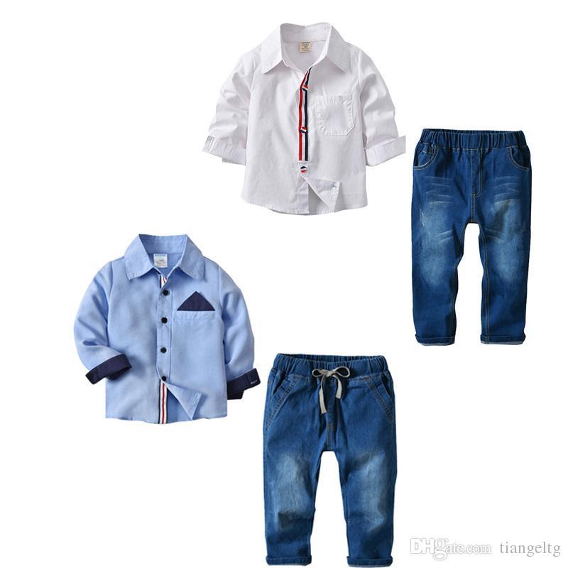 어린이 소년 Clotbing 설정 솔리드 싱글 브레스트 포켓 셔츠 카우보이 청바지 여름 옷 아동 의류 1-7T 08