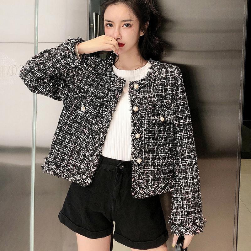 2019 Automne Vintage Noir Veste en tweed Manteaux femme élégante Woollen courte boutonnage unique manteau à manches longues à carreaux Vestes d'extérieur