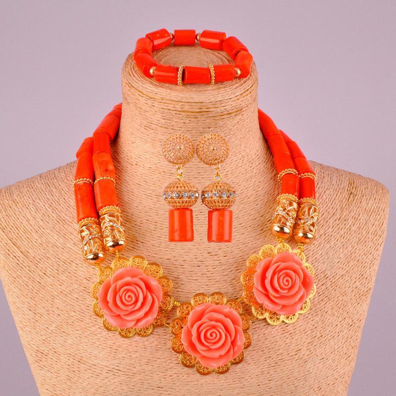 الأزياء قلادة زهرة البرتقال نيجيريا كورال مجموعة مجوهرات الزفاف مجموعات مجوهرات الأفريقية للمرأة T200507