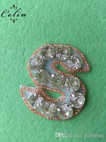 Кристалл A-Z Буква S из розового золота с бисером и аппликацией из хрусталя с кристаллами серебра для свадебной вечеринки