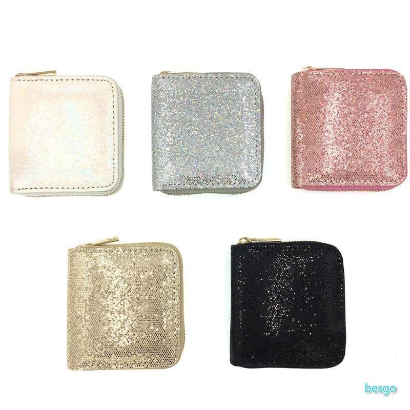 Women Short Purse Sequin Glitter Children Small Wallets Lady Zipper Wallet Coin Purses Clutch Money Clip Money Bag Card Holder BC BH1634