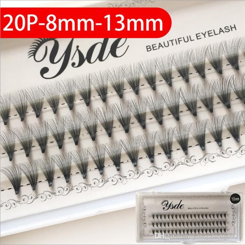 20P Knot Free individual eyelashes Black Long Natural False Eyelashes Charm Handmade Fake Eye Lashes Makeup Extension Tools 60 clusters
