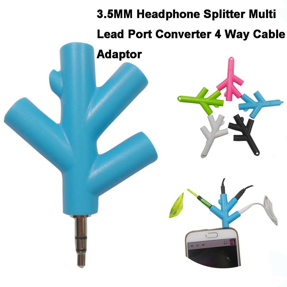 TCT 1 stück ABS + Metall 3,5 MM Kopfhörer Splitter Multi Lead Port Converter 4 Way Kabel Adapter 1 Audioeingang Und 4 Audioausgang