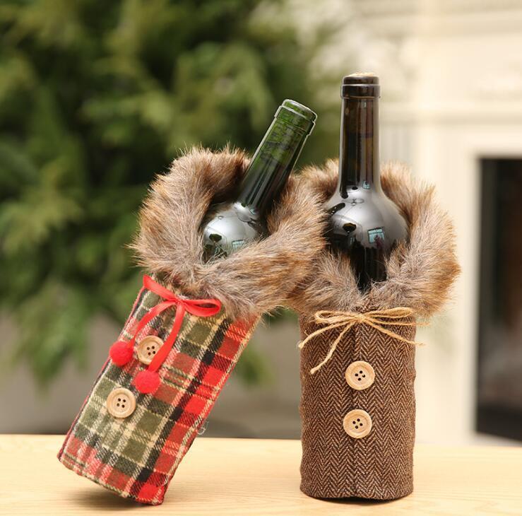 Hav Yaratıcı Şarap Şişesi Kapağı Moda Noel Dekorasyon 8833 ile Bow Ekose Keten Şişe Giyim ile Noel Süsleri Şarap Kapak
