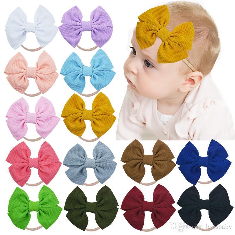 Infantil del bebé 4,7 pulg diadema de 20 colores del arco grande Hairband Bebé sólido de nylon vendas elásticos Accesorios para el cabello recién nacido 06