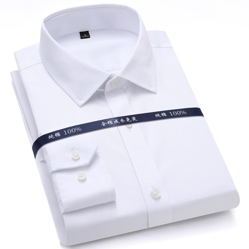 Men's Dress Shirts High Quality Mens Formal Long Sleeve White Pure Cotton Business Slim Fit Plus Size Office Shirt Non Iron Blouse