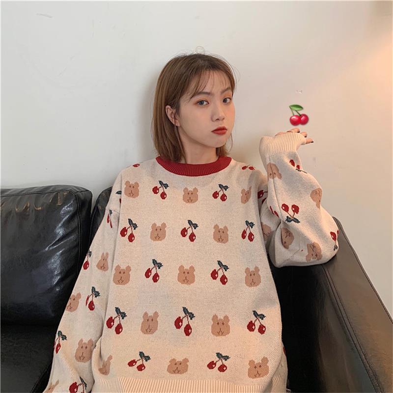 Urso solto Camisolas japonesa Kawaii ulzzang Vintage cereja camisola das mulheres Feminino coreano Harajuku roupa bonito para as mulheres