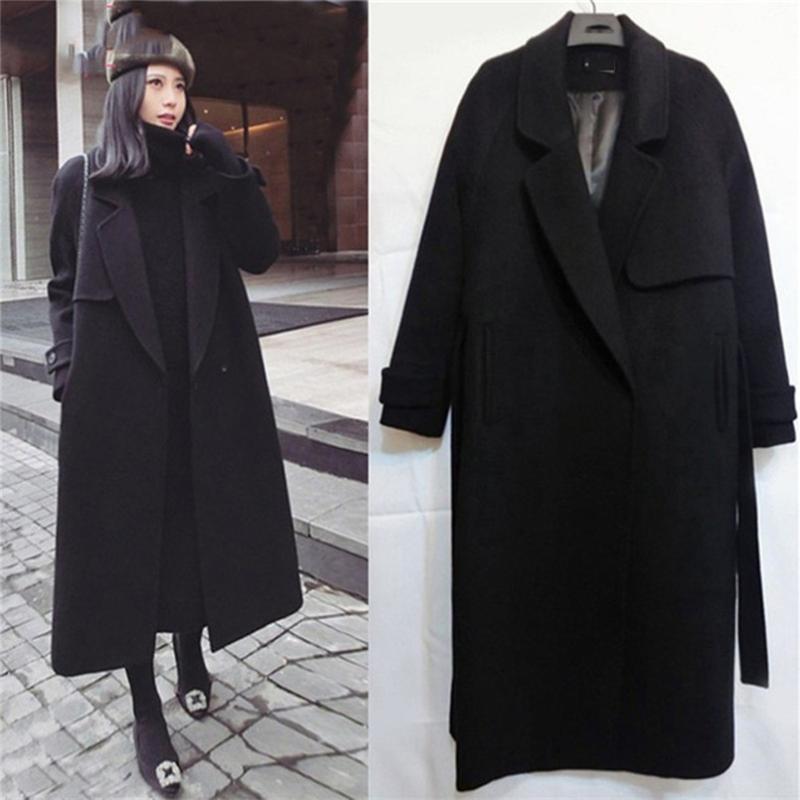Mode Femmes Wool Blend Femme Longue Automne et hiver Slim Manteau Femmes Casual à manches longues Moyenne Minim Slim Slim Overcoat # 4N20