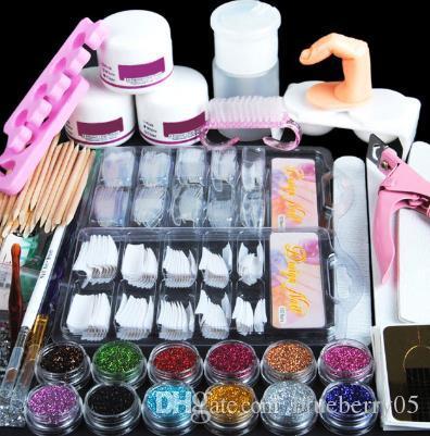 Sıcak Satış Akrilik Nail Art Manikür Kiti 12 Renk Tırnak Glitter Toz Dekorasyon Akrilik Kalem Fırçası Yanlış Parmak Pompası Nail Art Araçları Kiti Seti