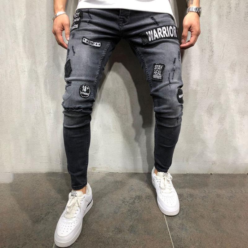 Casuales para hombre Pantalones vaqueros flacos negro sólido hombres jeans rasgados rasgados del mendigo con grabado para la juventud de los hombres más el tamaño de Demin Plancha