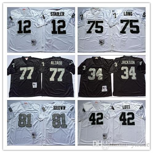 NCAA Football 81 Tim Brown Jersey jerseys 12 Ken Stabler 34 JACKSON 75 Howie Long 42 Ronnie Lott 77 Lyle Alzado Blanco Vintage Negro cosido