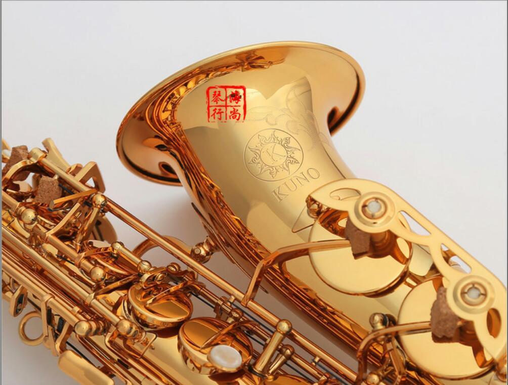 New Japan KUNO KAS-902 mi bemol Sax saxofón de oro laca Case y accesorios de boquilla con