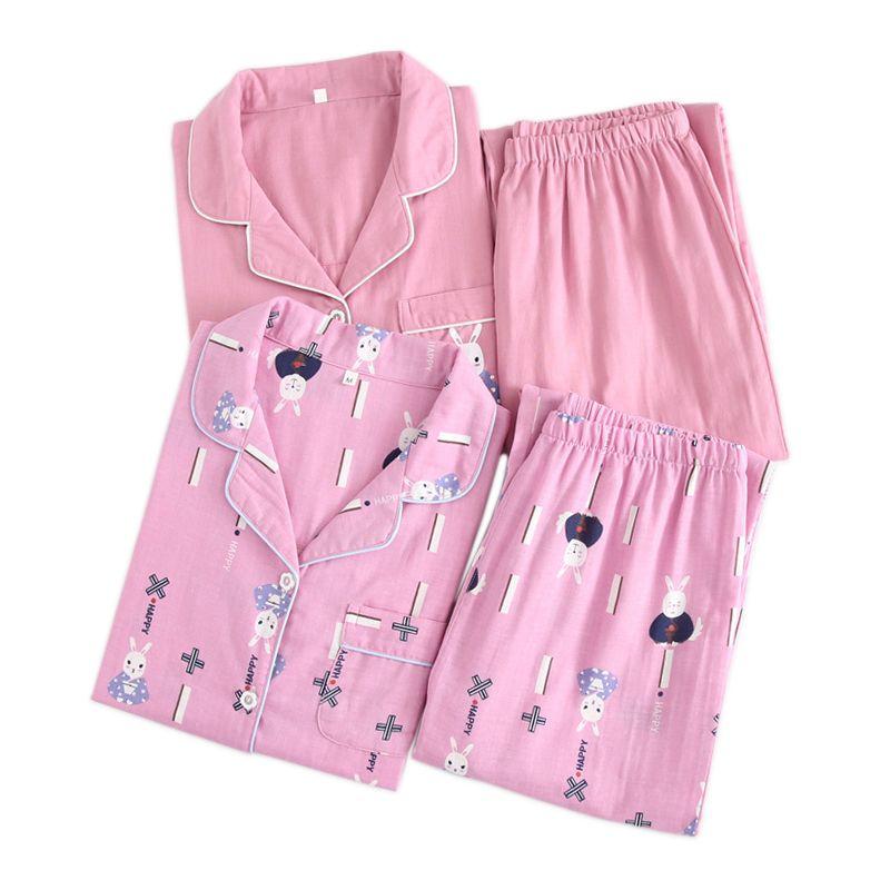 pigiama coniglio kawaii set donna primavera 100% garza cotone manica lunga casual pigiameria pigiama estate sottile estate femminile
