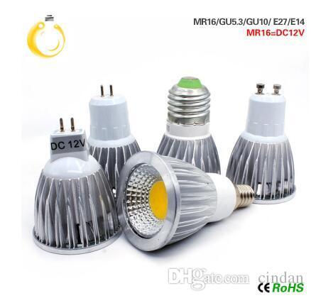 COB 주도 스포트라이트 9W 12W LED가 점등 E27 E14 GU10 GU5.3 220V MR16 12V 암 나무 열매 LED 전구 따뜻한 화이트 차가운 화이트 lampada