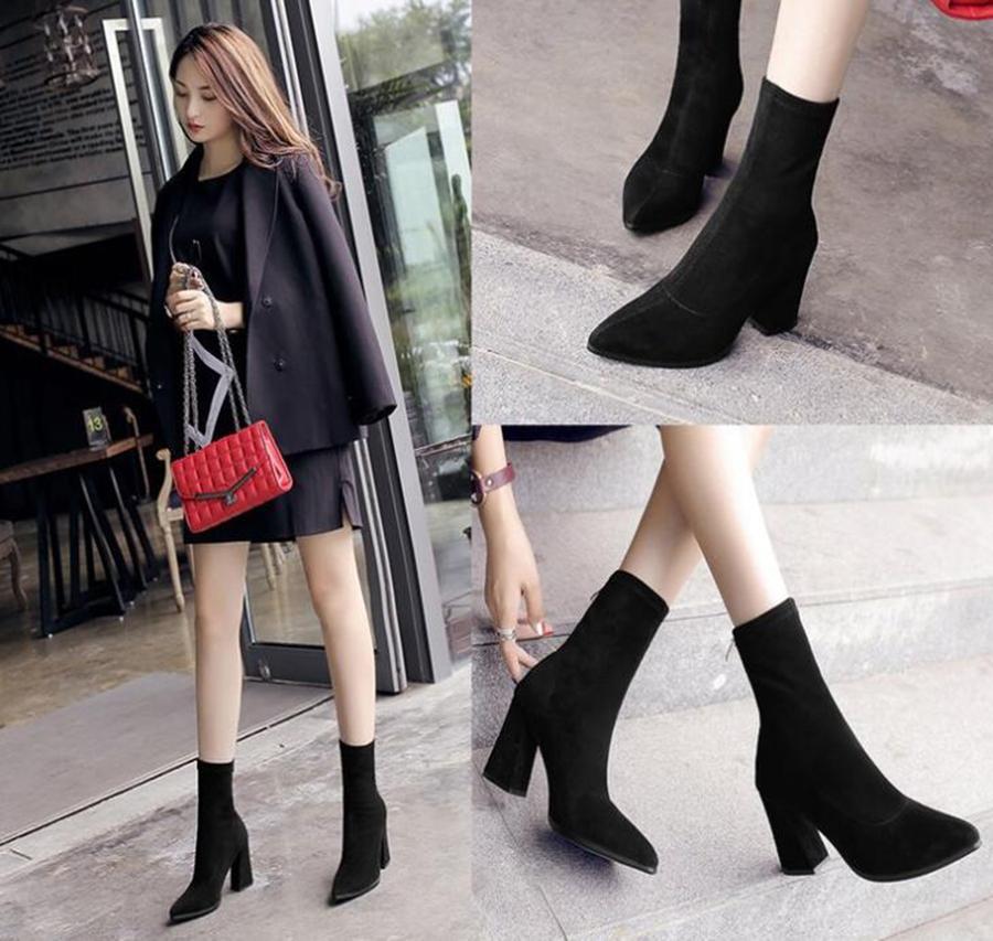 Herbst und Winter neue elastischer Stiefel Stovepipe Stiefel in The Tube Spitz High-heeled dick mit kurzen Frauen