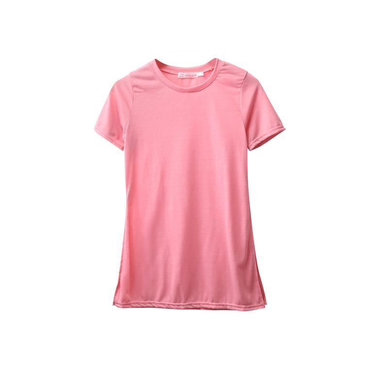 새로운 패션 여성 여름 느슨한 짧은 소매 O-넥 풀오버 솔리드 캐주얼 열기 포크 셔츠 T 셔츠 탑스