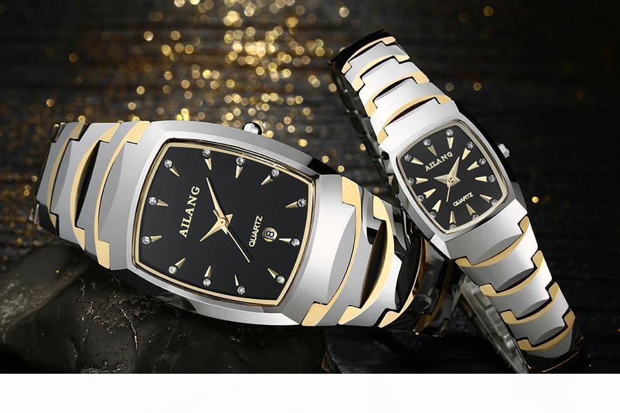 Ailang high Quality Scratch-proof Tungsten Steel Watches Lovers Vintage Tonneau Wristwatch Couples Calendar Watch Men Women A114
