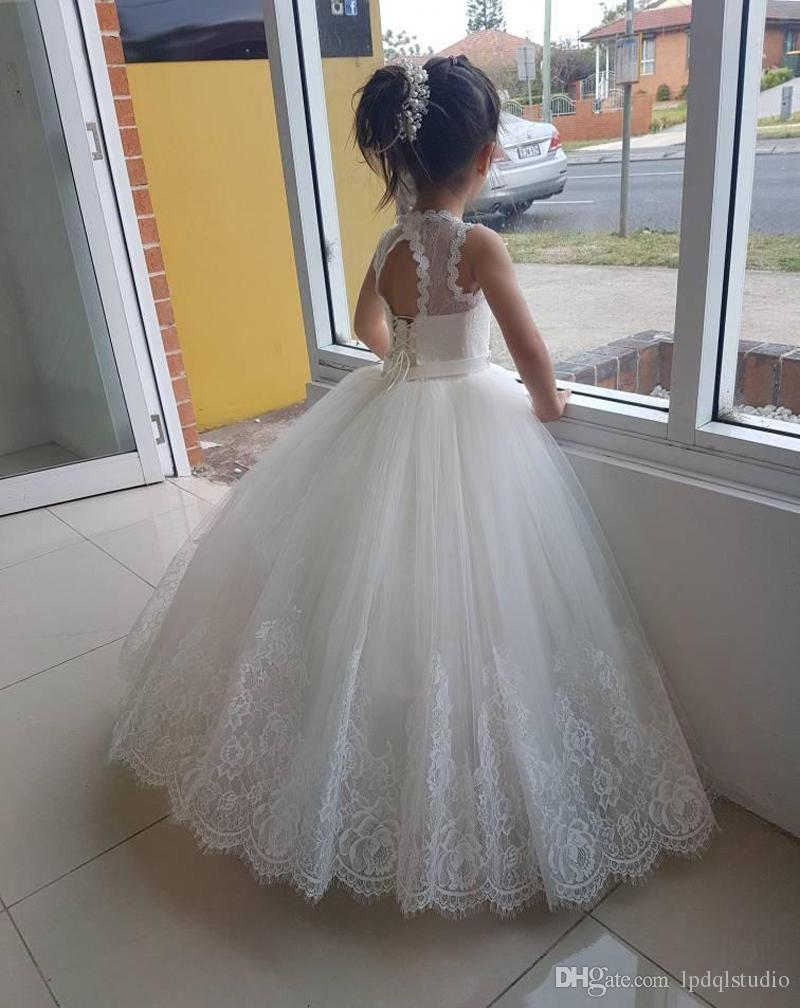 Ivory Flower Girls Dresses Lace Girls Wedding Party Dress Ball Gown Summer Pleats Tulle with Lace Applique Lace-up back