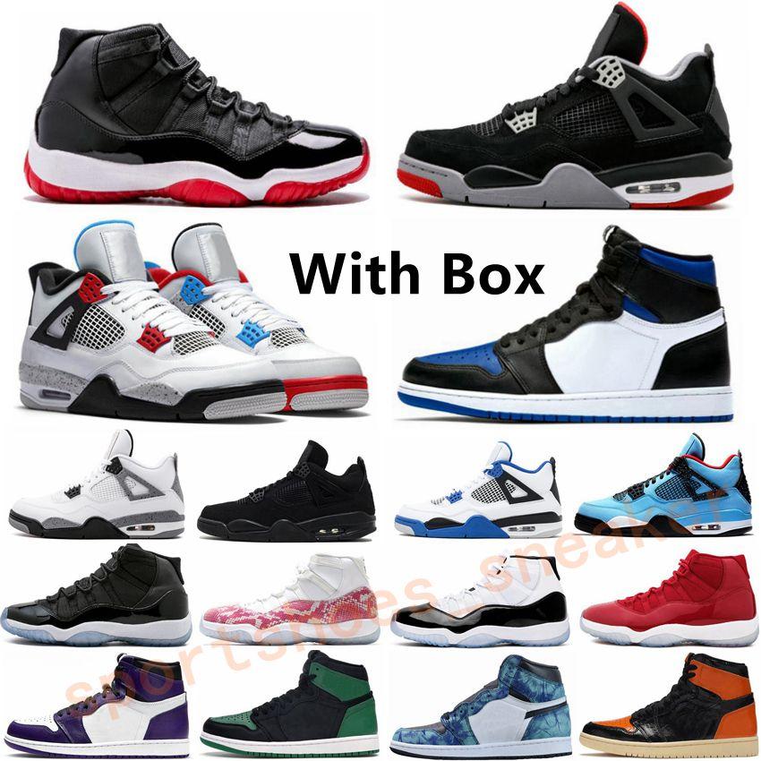 1 1s Erkek Kadınlar Basketbol Ayakkabı Ne Concord Mahkemesi Mor Spor Outdoor Ayakkabı 11 11'leri Kraliyet Burun Bred Kara Kedi 4 4s