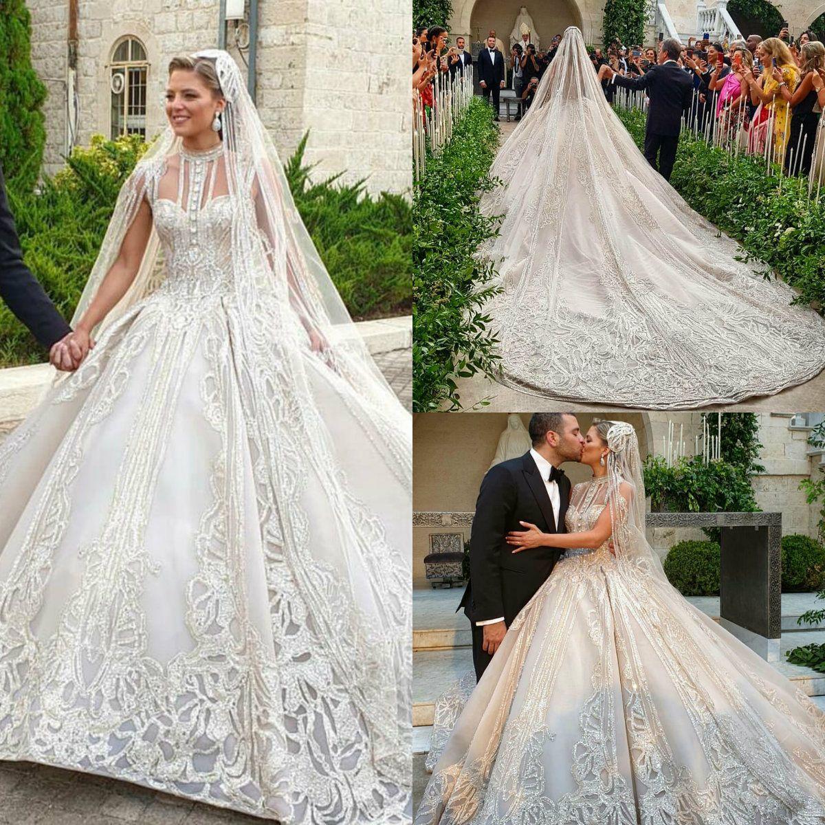 2020 Luxury Elie Saab Ball Gown Wedding Dresses Lace Beaded Monarch Train Vintage Dubai Wedding Dress Plus Size Arabic Bridal Gowns