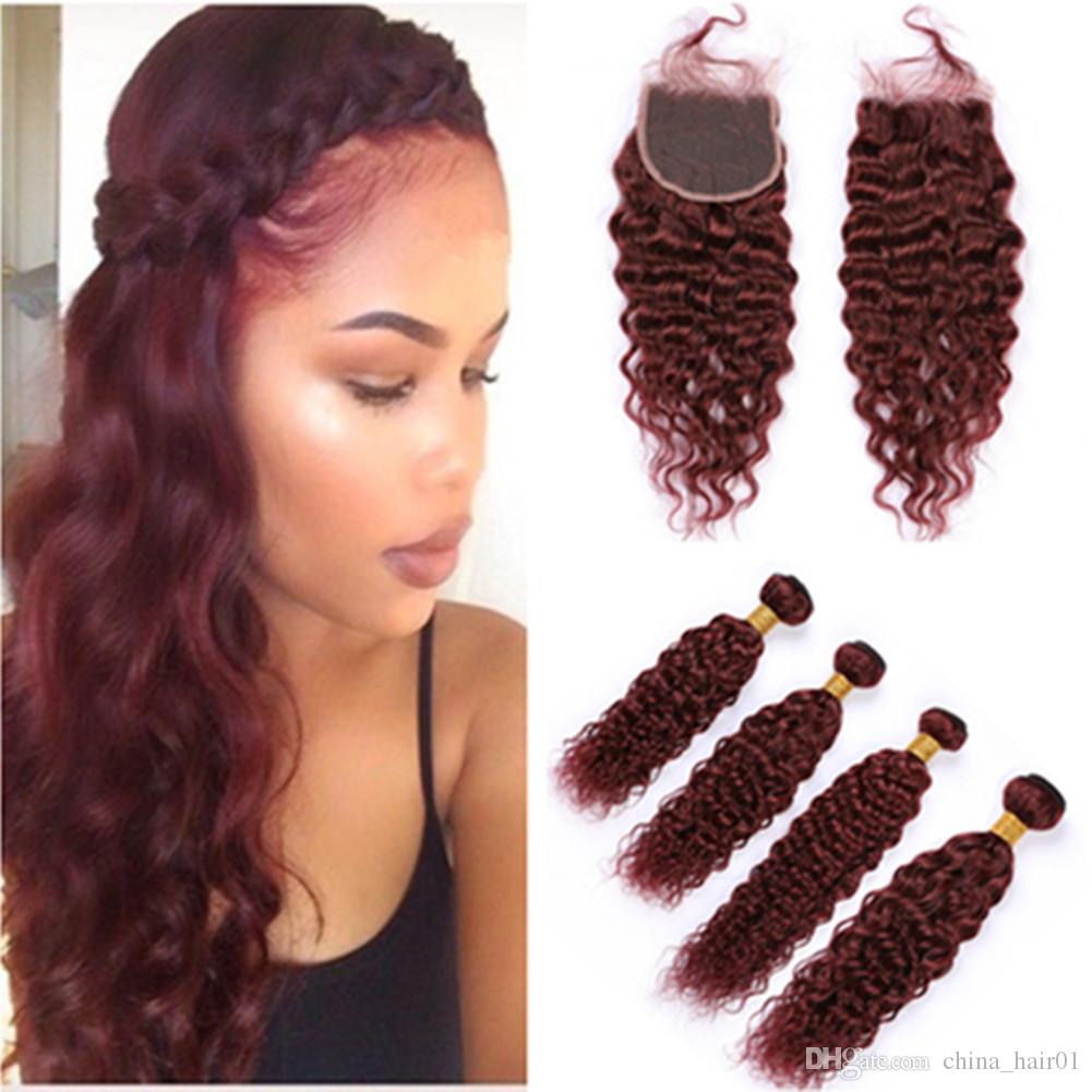Burgundy Hair Bundles and Closure 99J Wine Red Brazilian Wet and Wavy Human Hair Weaves 4Bundles with Lace Closure Water Wave Hair Extension