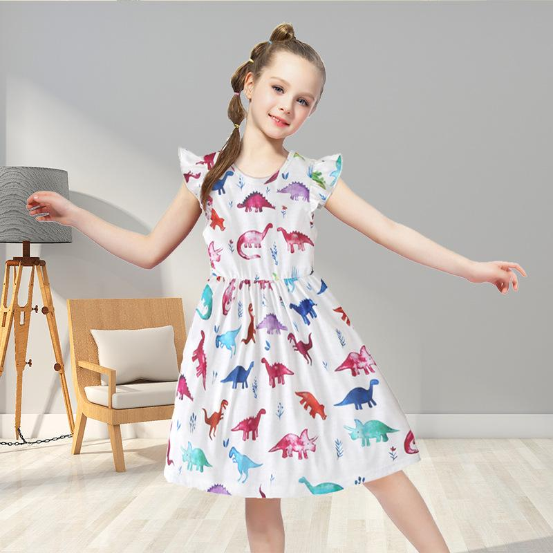 Girl dress children's clothes dinosaur print summer casual short-sleeved small floral white girl party dress kids clothes