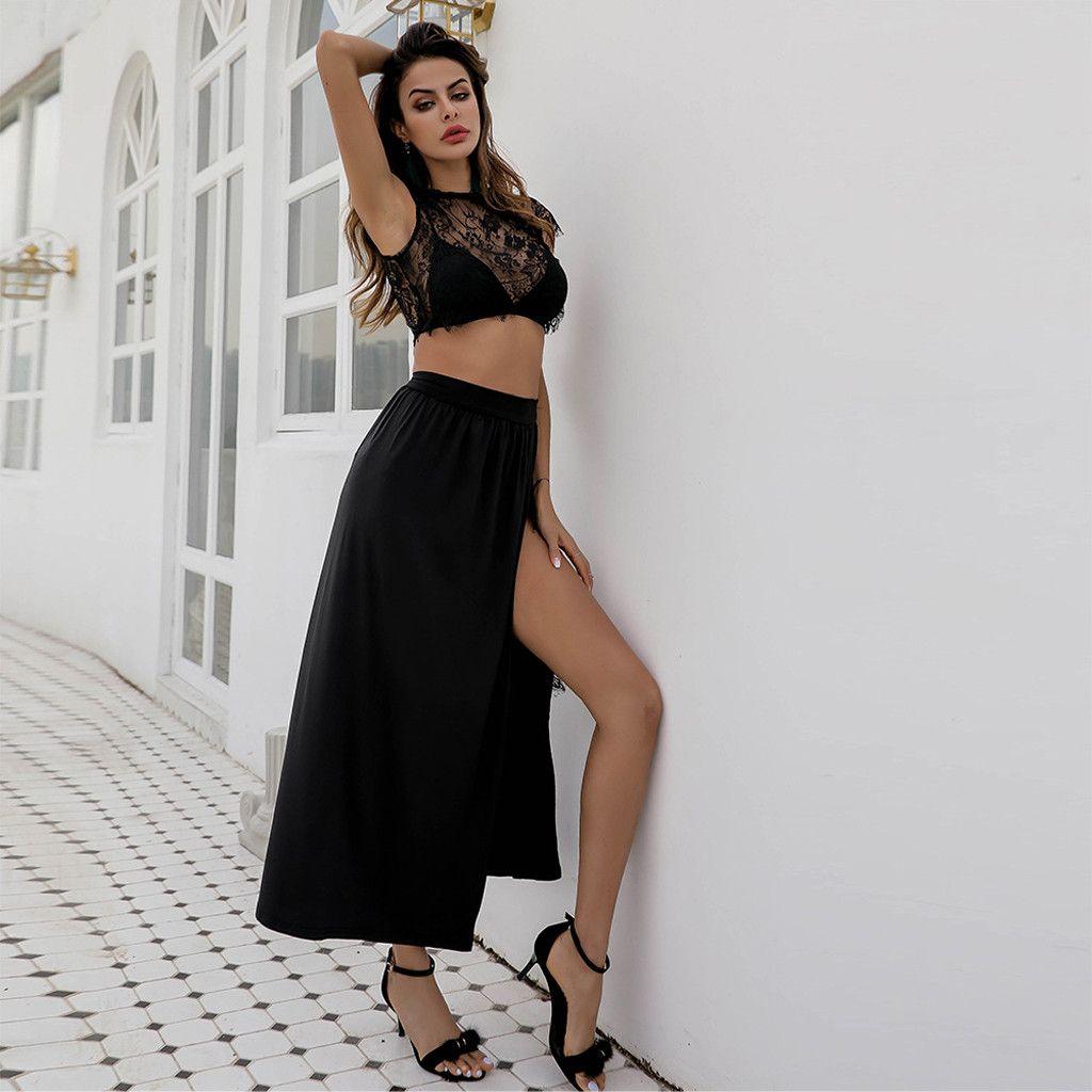 2019 Summer 2set Dress Lace Women Summer Sleveless Blouse Casual Beach Vintage Fashion Solid Skirt Set Dropship Traje