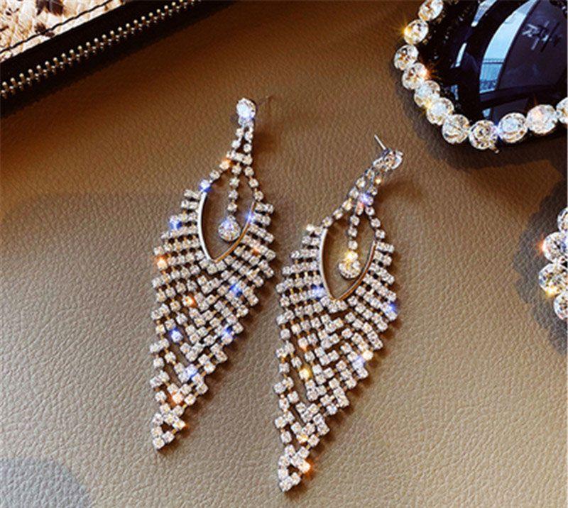 S1136 Hot Fashion Ювелирные Изделия S925 Серебряные Серьги Crystal Rhinhone TassEl Серьги-гвоздики Серьги