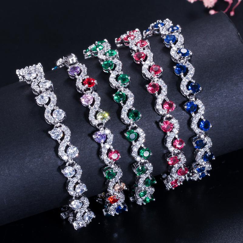 الساحرة الأزرق الداكن النساء تنس أساور مع مكعب زركونيا ستون 925 الاسترليني والفضة والمجوهرات b016