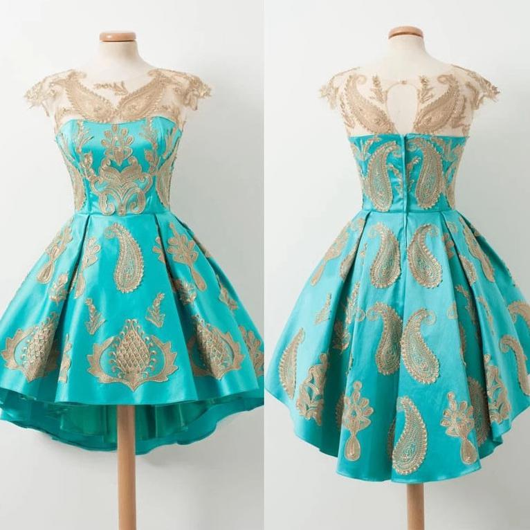 Jewel Collo illusione manica Turchese Prom Dresses breve mini oro pizzo applique vestito Homecoming Designers partito del vestito operato A-Line