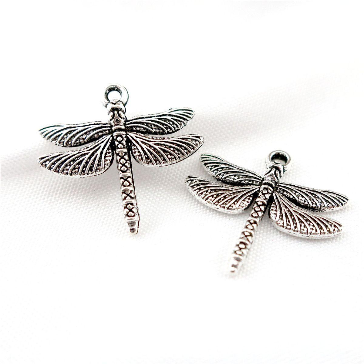 22848 45PCS lega d'argento antico d'epoca insetti libellula pendente fascino accessorio moda gioielli fai da te parte