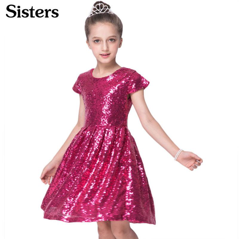 Sisrers 2018 Ins Fashion Girls Pailletten Kurzarm Partykleid Shiny Princess Boutique Kleidung Golden Rose Red J190611