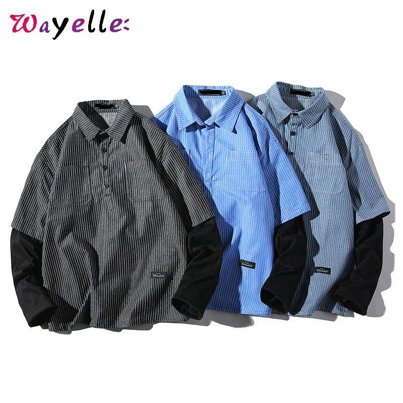 Long Sleeve Striped camisas Homens 2019 Queda Patchwork Casual Hip Hop solto lapela camisa Men Japanese Streetwear Camisa Masculina