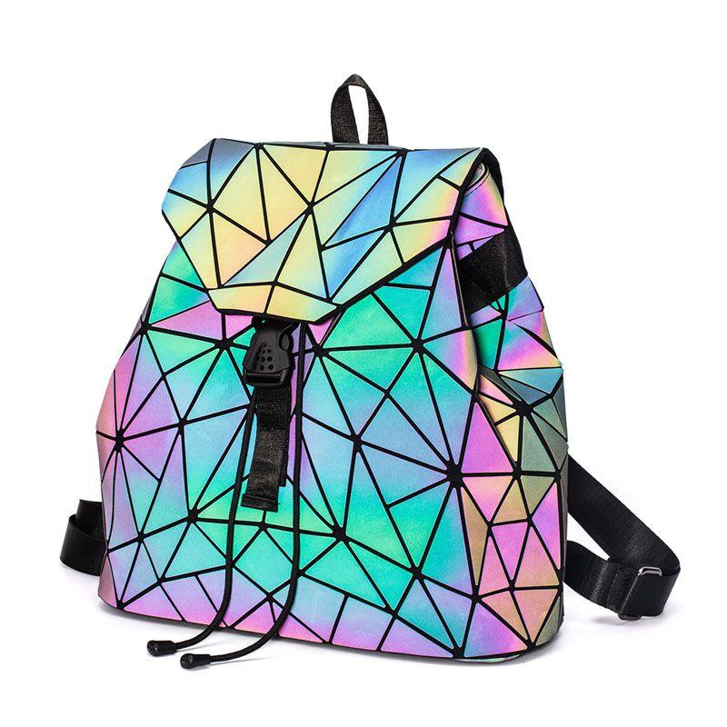 أزياء مضيئة حقيبة الظهر المرأة هندسية حقائب الظهر للمراهقات النسائية الليزر الماس طالب حقيبة مدرسية mochila bolsas