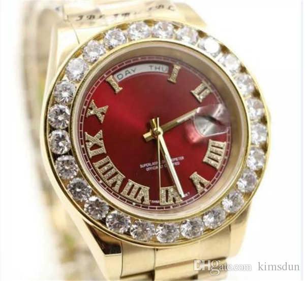Kırmızı Lüks Watche Marka Altın Başkan Gün-Tarih Büyük Elmas Rol İzle Erkekler Paslanmaz Çelik Elmas Çerçeve Otomatik Erkek Reloj Saatı
