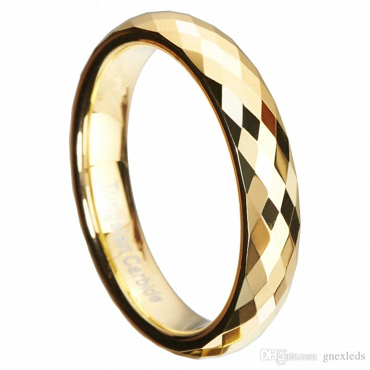 Mercúrio de ouro Multi Facetado de Carboneto De Tungstênio Anéis de Casamento Banda Alta Polonês 3 4mm Declaração Infinito Jóias Nupcial Presente de Natal Único