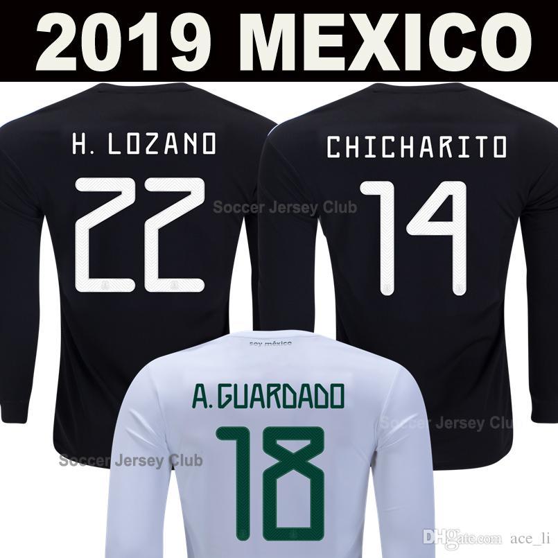 2019 camisas de manga larga de la Copa México camiseta de fútbol CHICHARITO LOZANO CHUCKY manga llena de oro del fútbol MARQUEZ dos Santos Camisetas de futbol